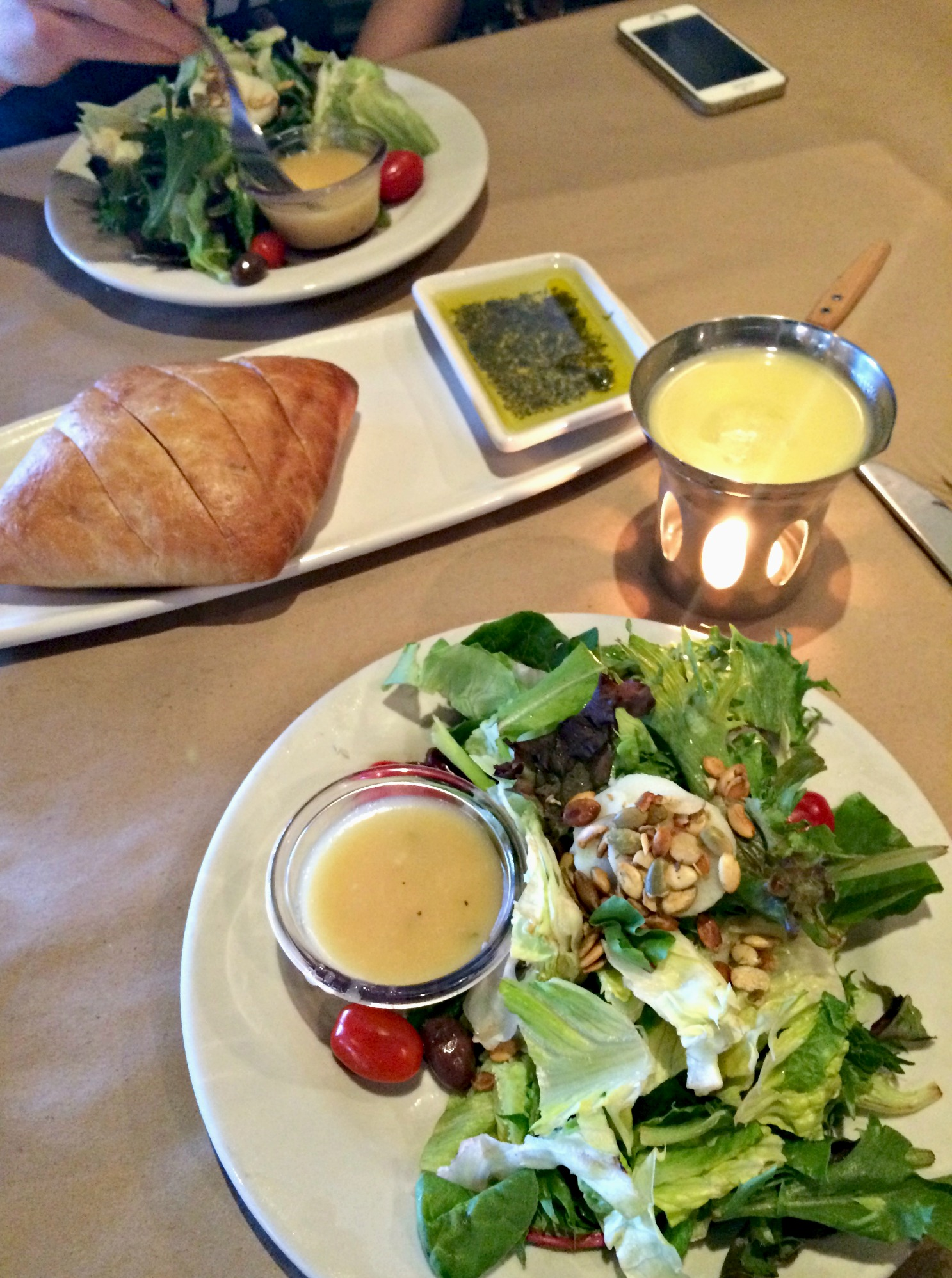 Bonefish house salads and bread appetizer