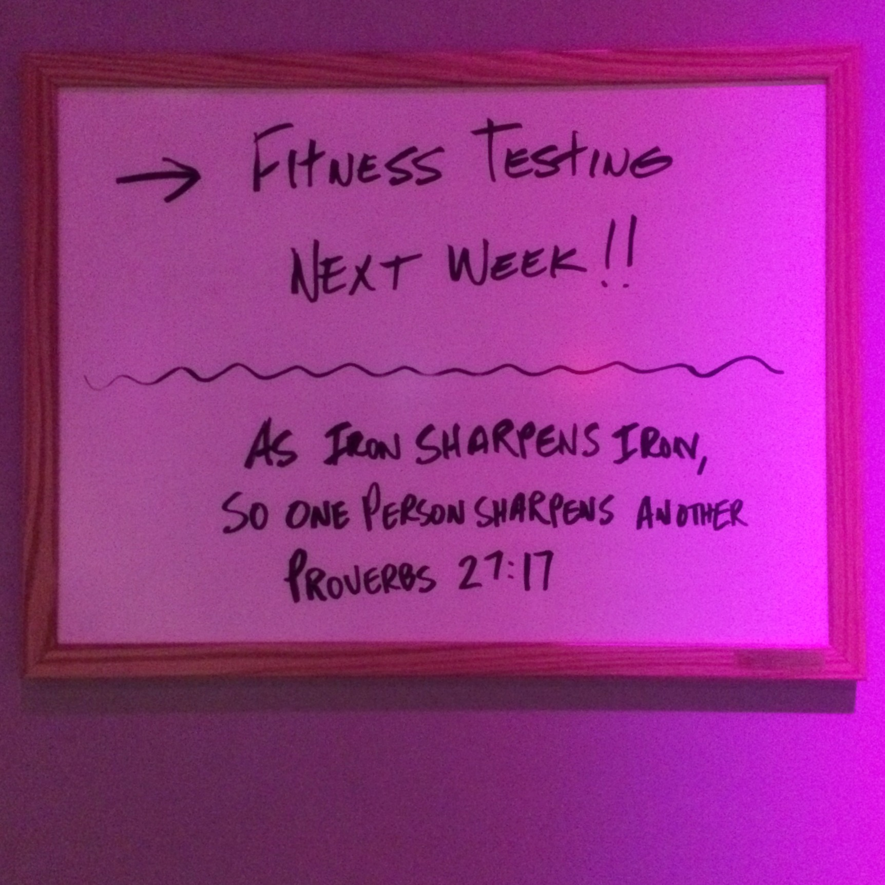 ProverbsProverbs 27:17 as iron sharpens iron on a gym white board