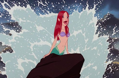ariel with wet hair