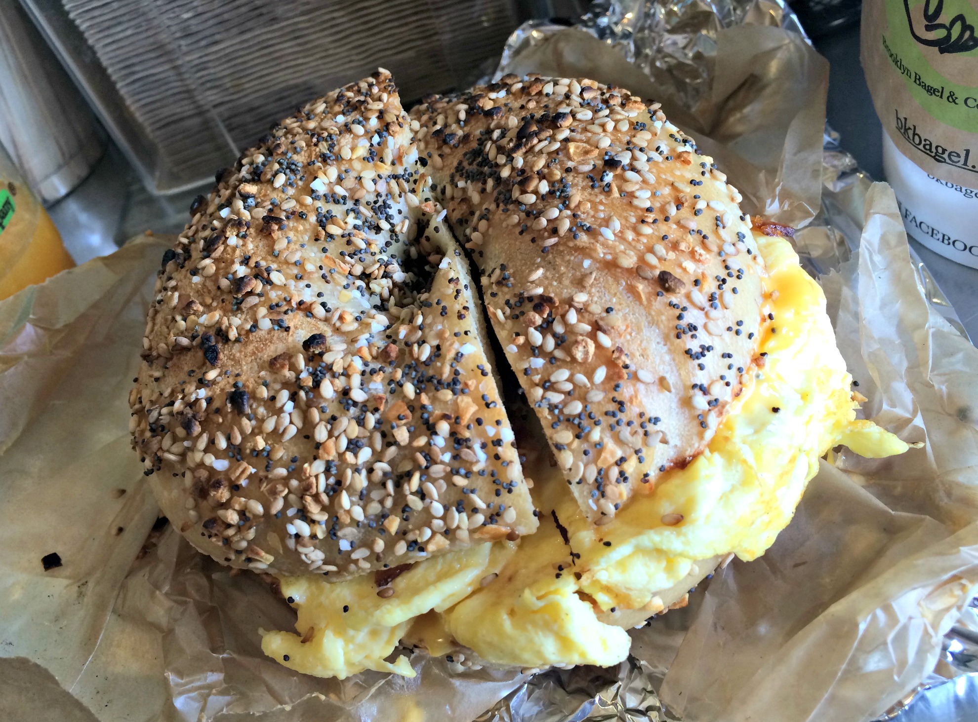 brooklyn bagel & coffee house everything bagel breakfast sandwich