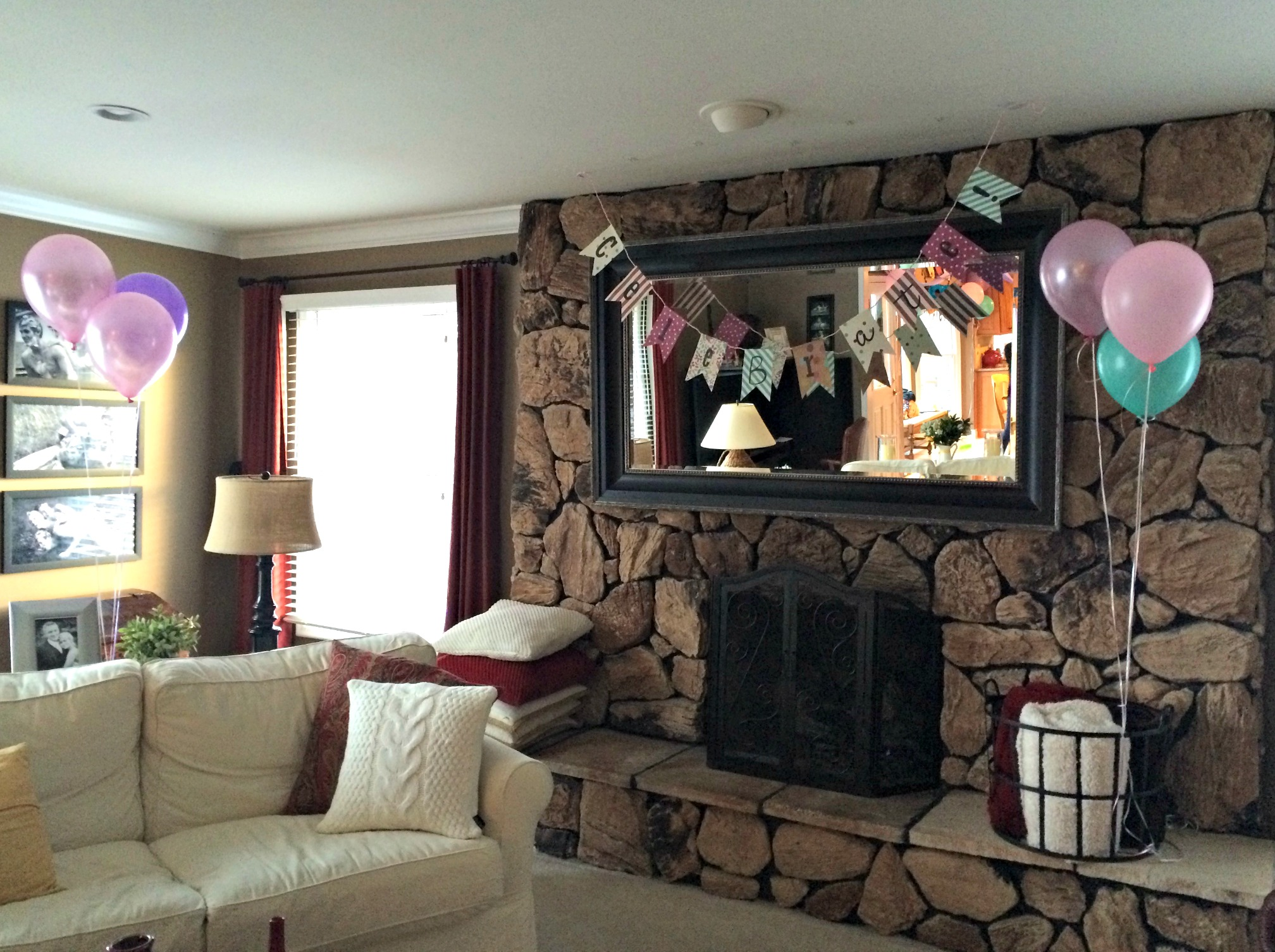 celebrate birthday banner and balloons