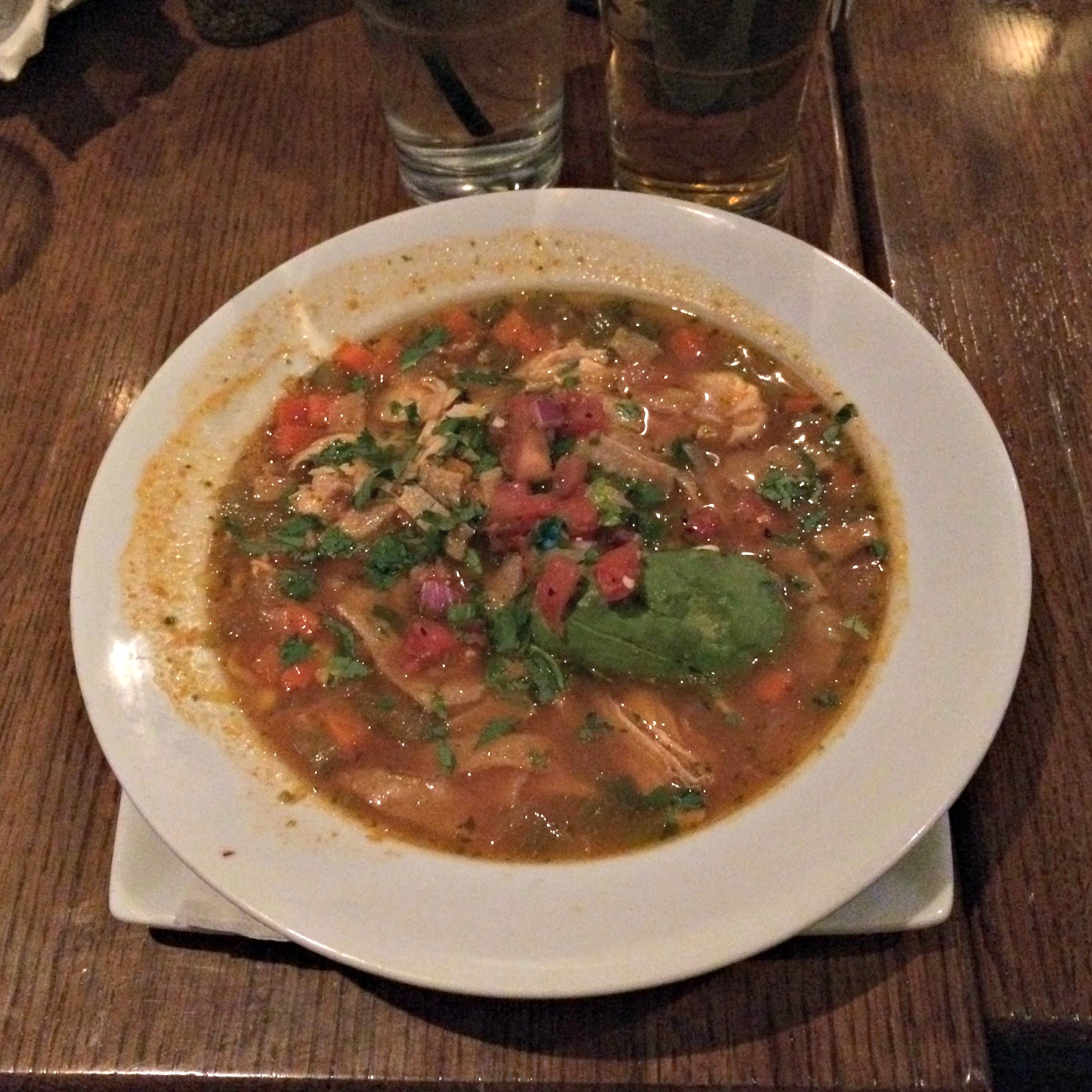 chicken tortilla soup at bar louie