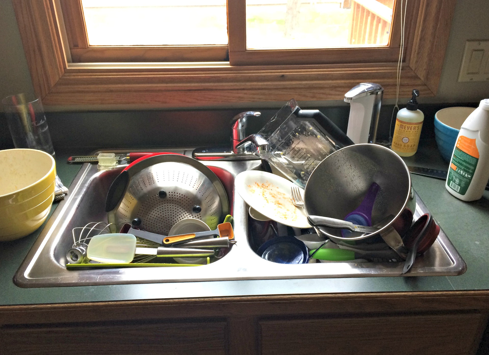 dishes in the sink