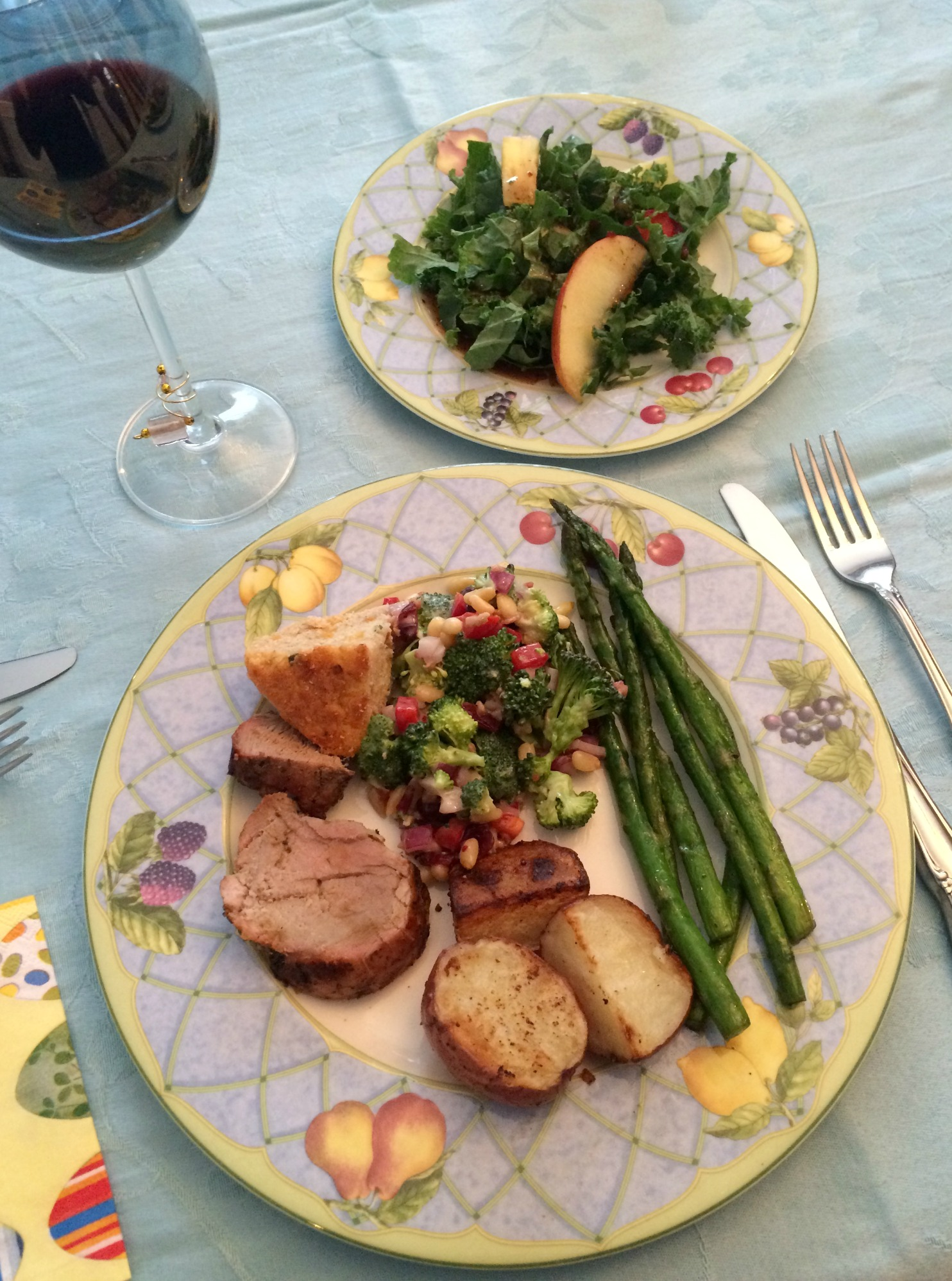easter dinner on plates