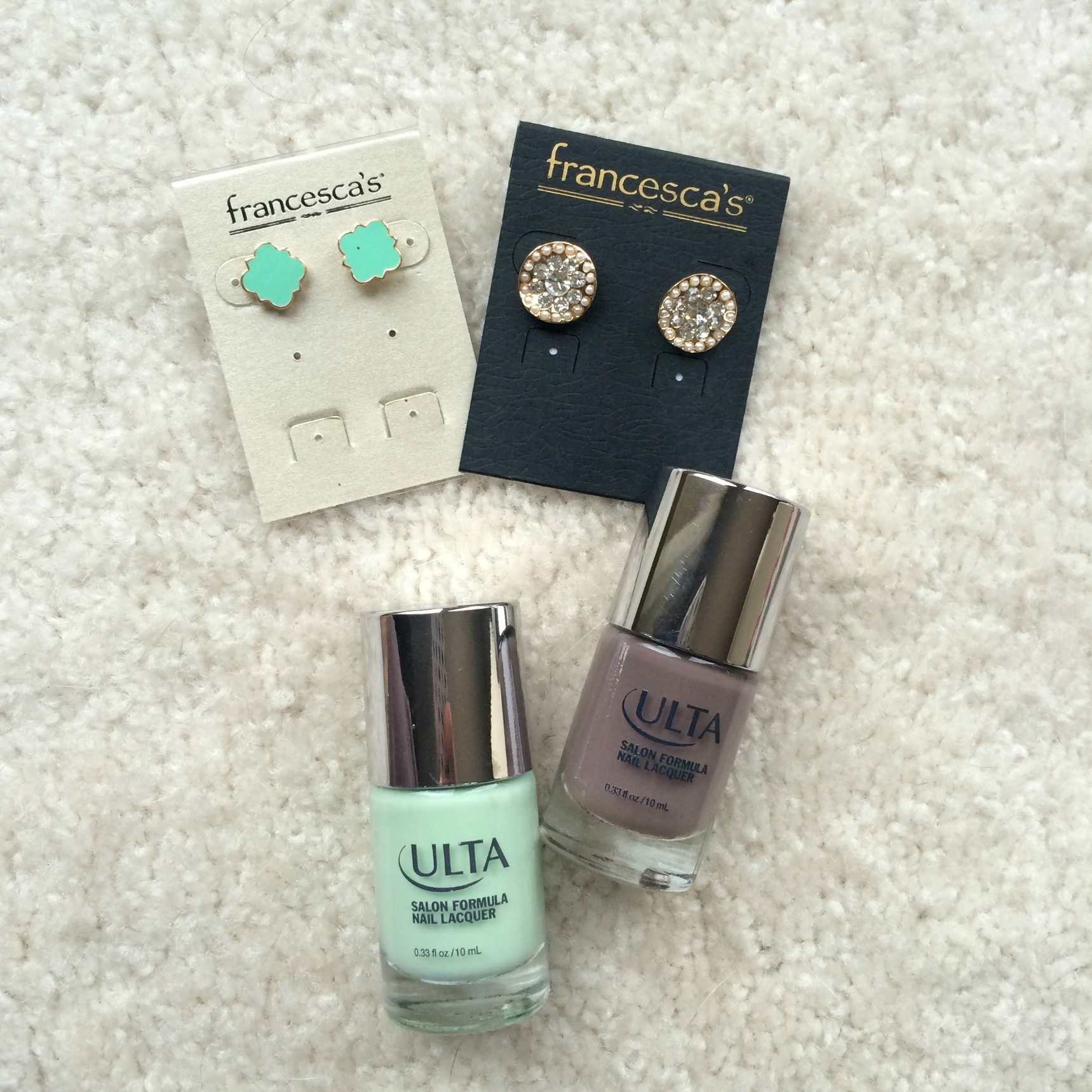 francesca's earrings and ulta nailpolish