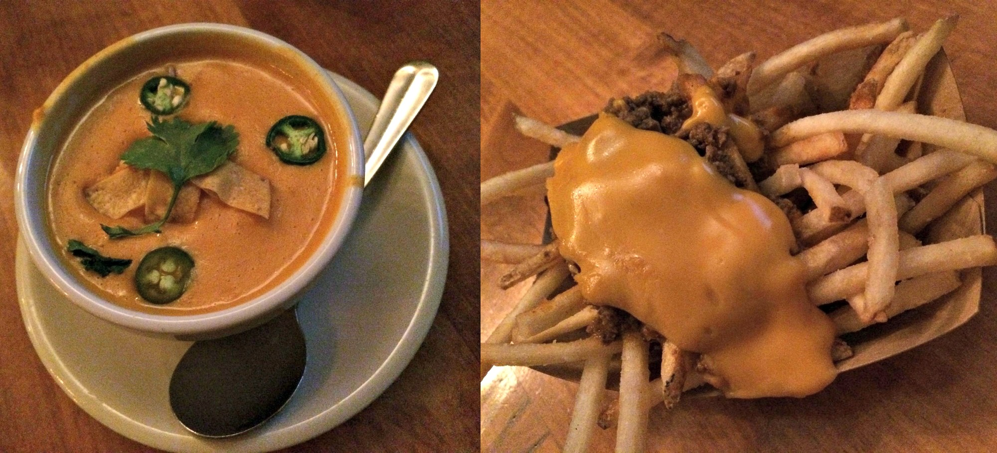 green dot stables chicken tortilla soup and venison chili cheese fries