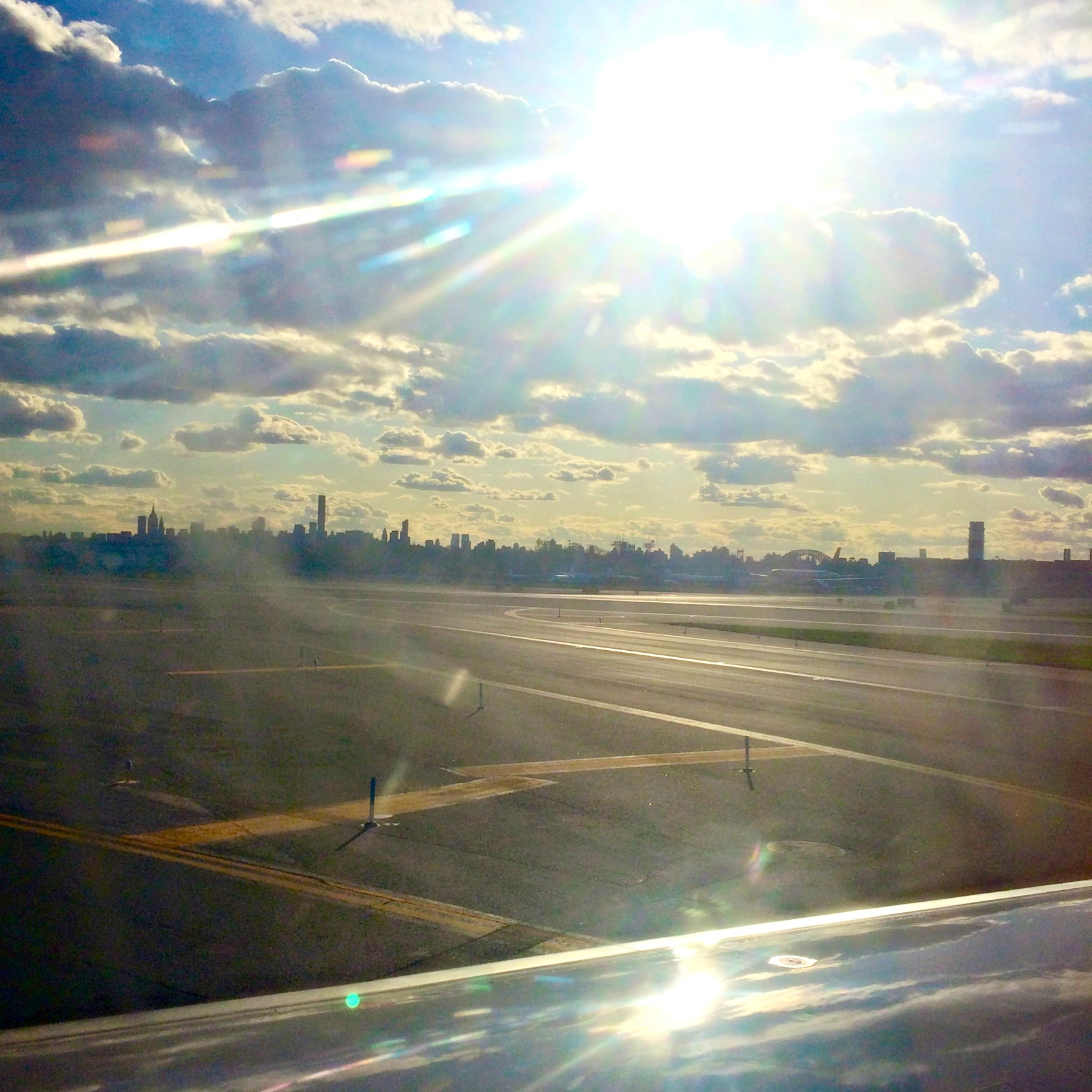 leaving NYC skyline from plane