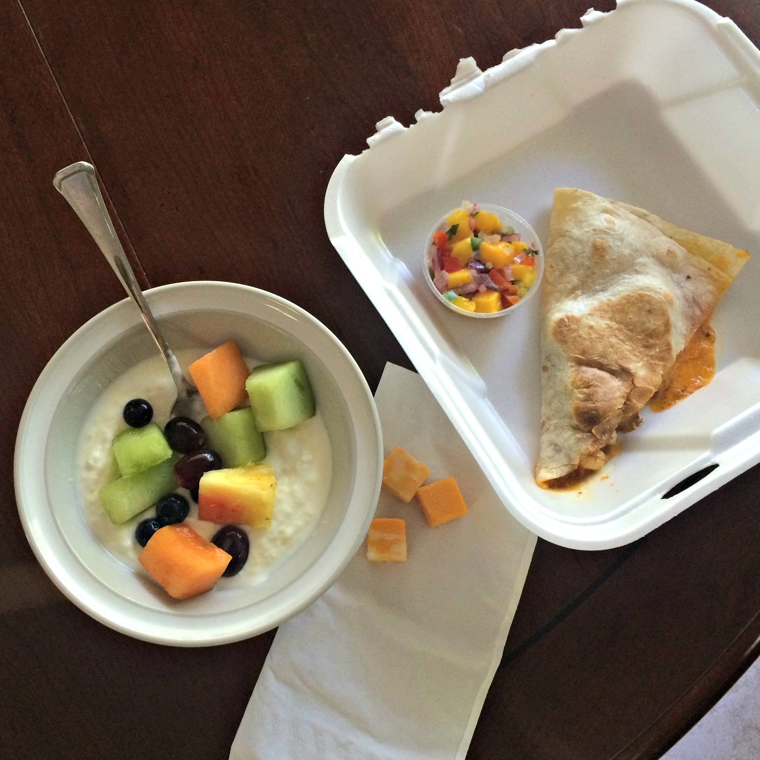 shrimp quesadilla with yogurt and fruit