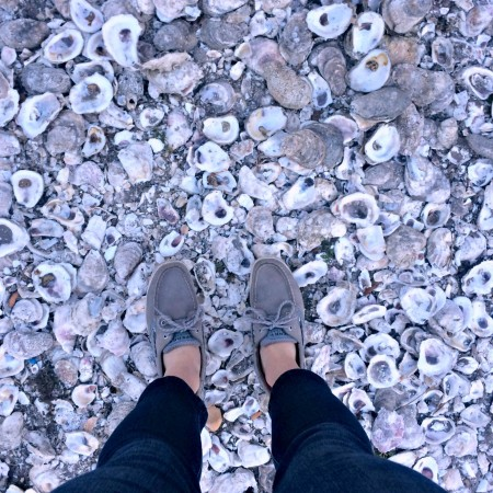 sperrys on oyster shells