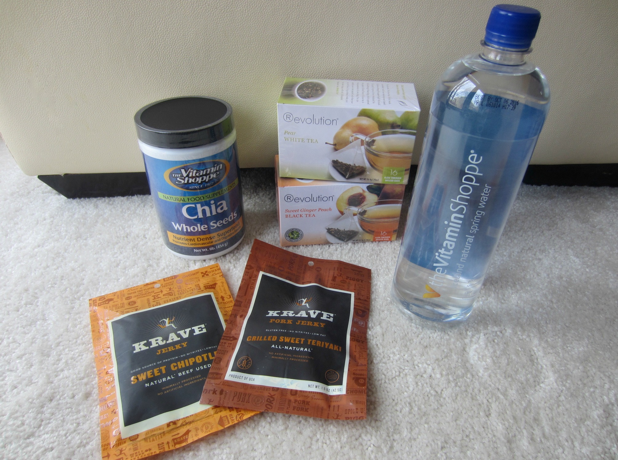 vitamin shoppe snacks krave jerky chia seeds tea and iceland water