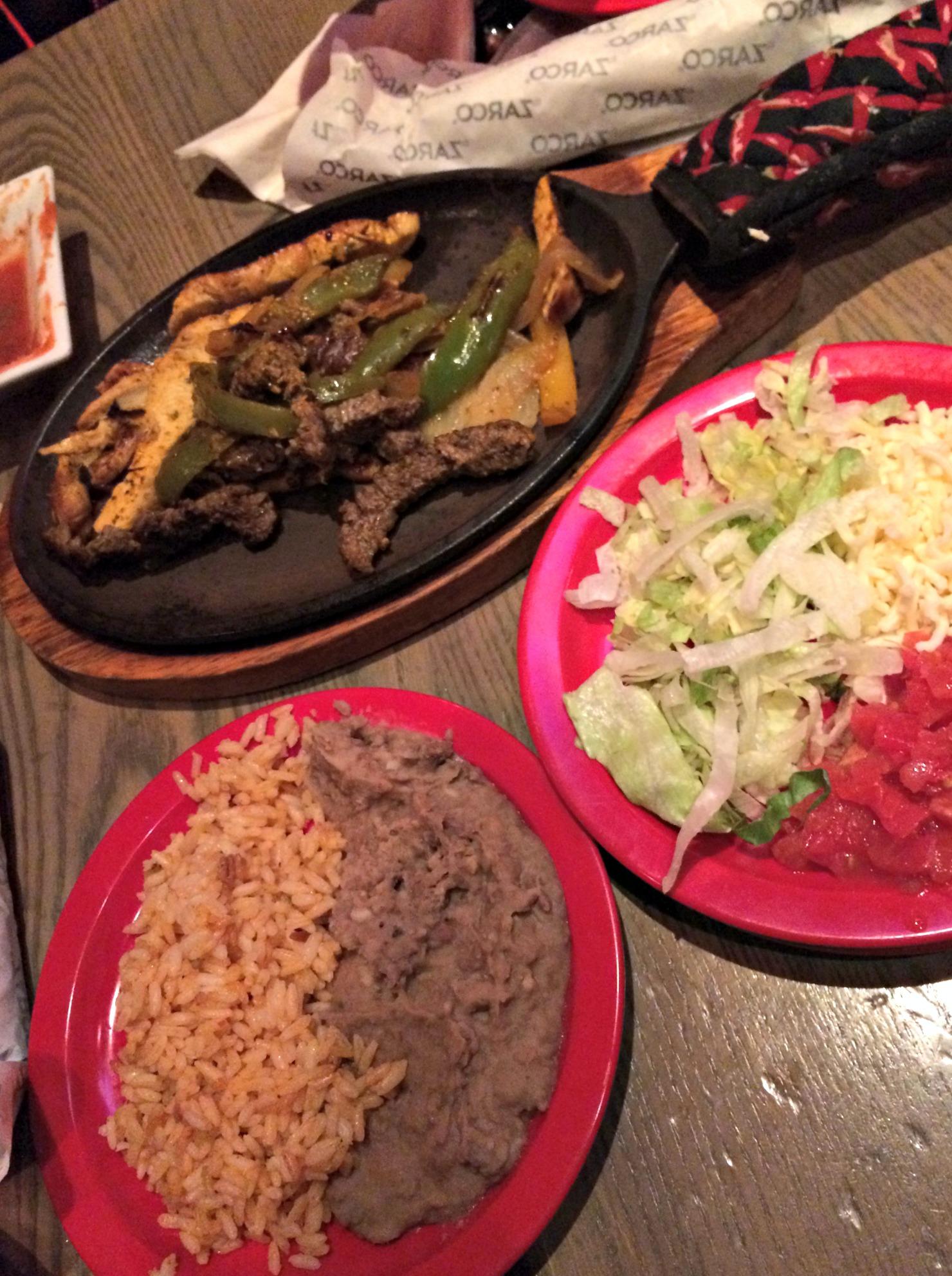 Rojo chicken and steak fajitas