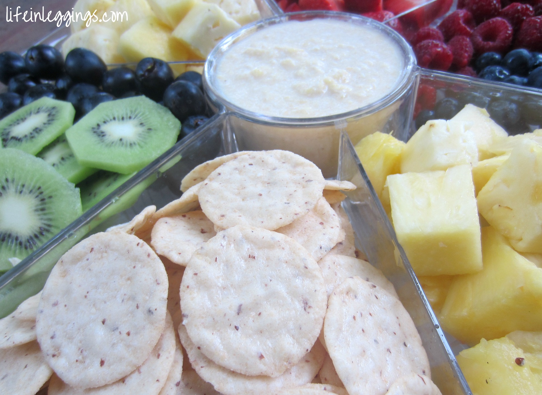 blue diamond nut thins crackers and fruit tray