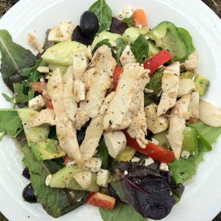 chicken greek salad with lots of veggies