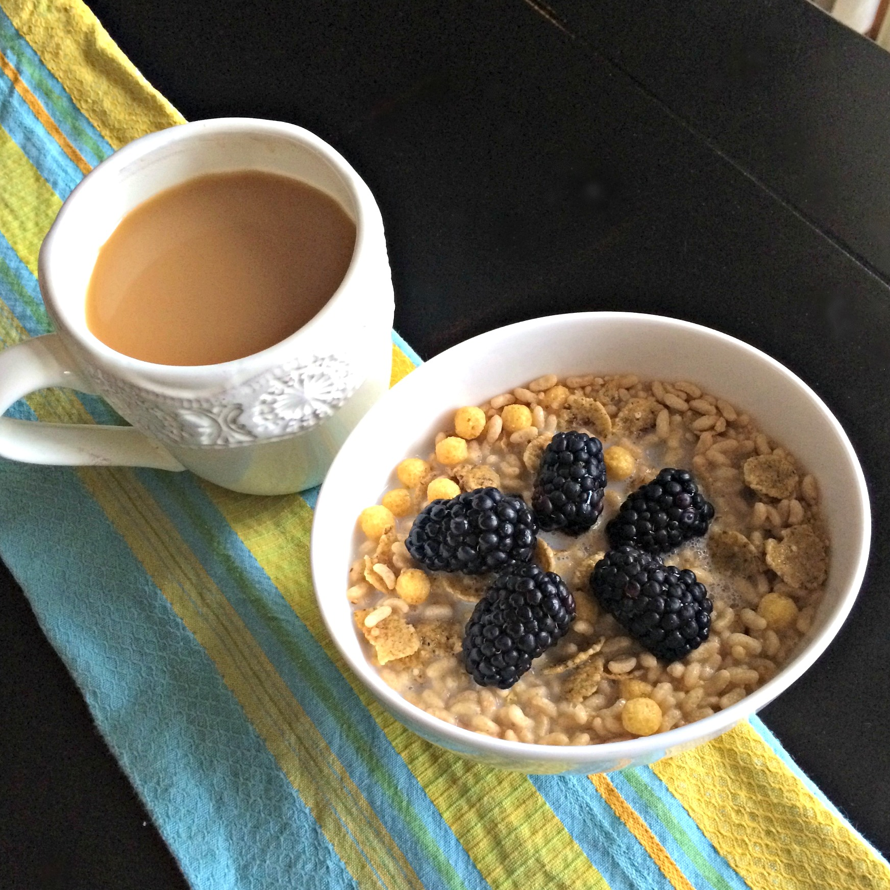 coffee and natures path fiber cereal with berries