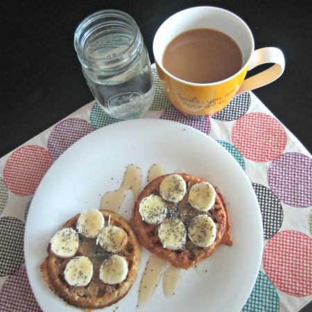 gluten free waffles with seed butter, bananas and chia seeds
