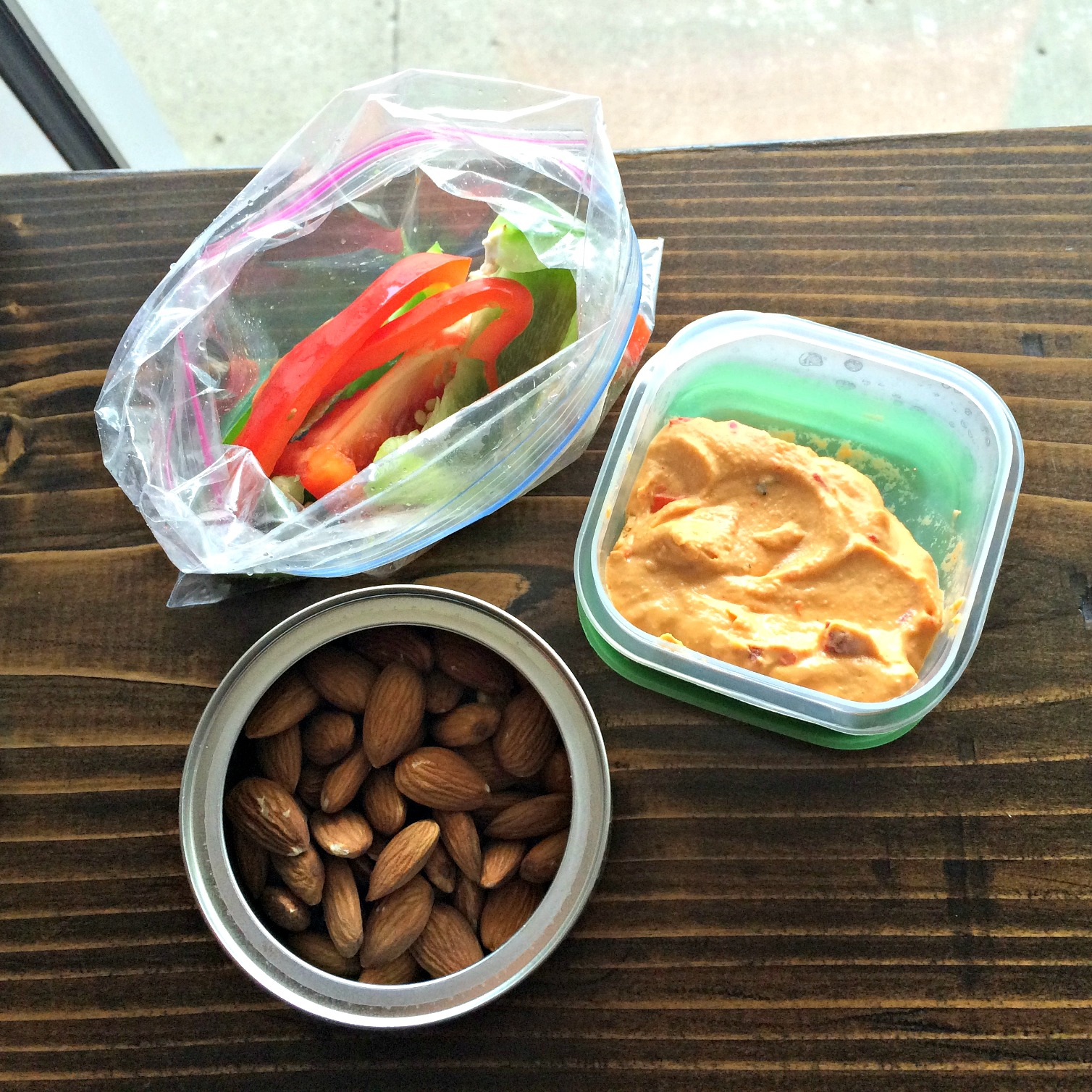 healthy snacks peppers almonds and hummus