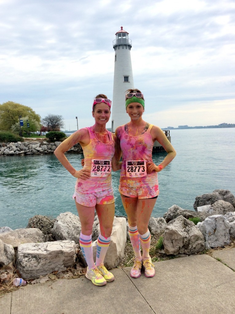 heather and nichole color me rad lighthouse