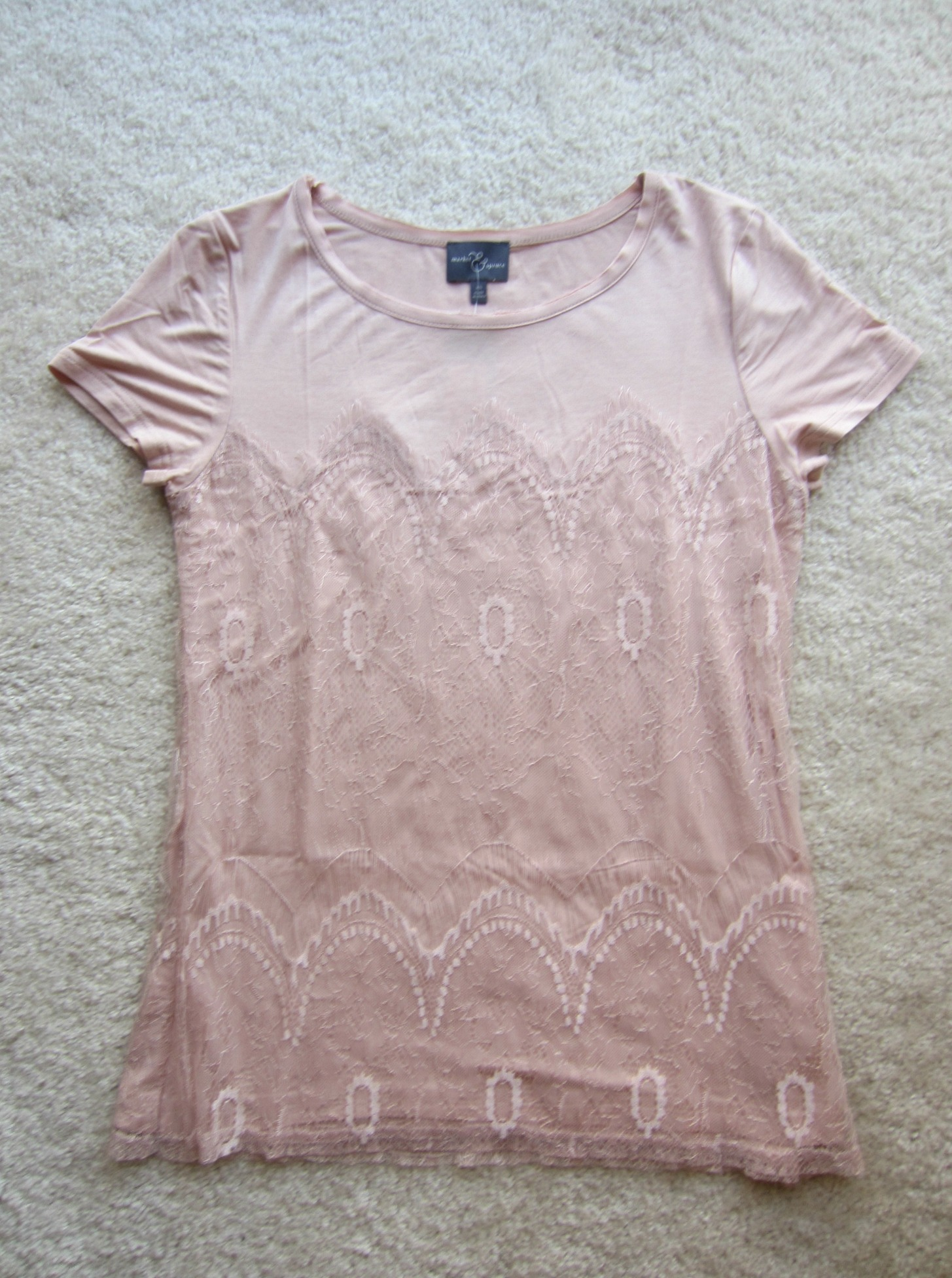 stitch fix market & spruce memphis lace overlay knit shirt light pink