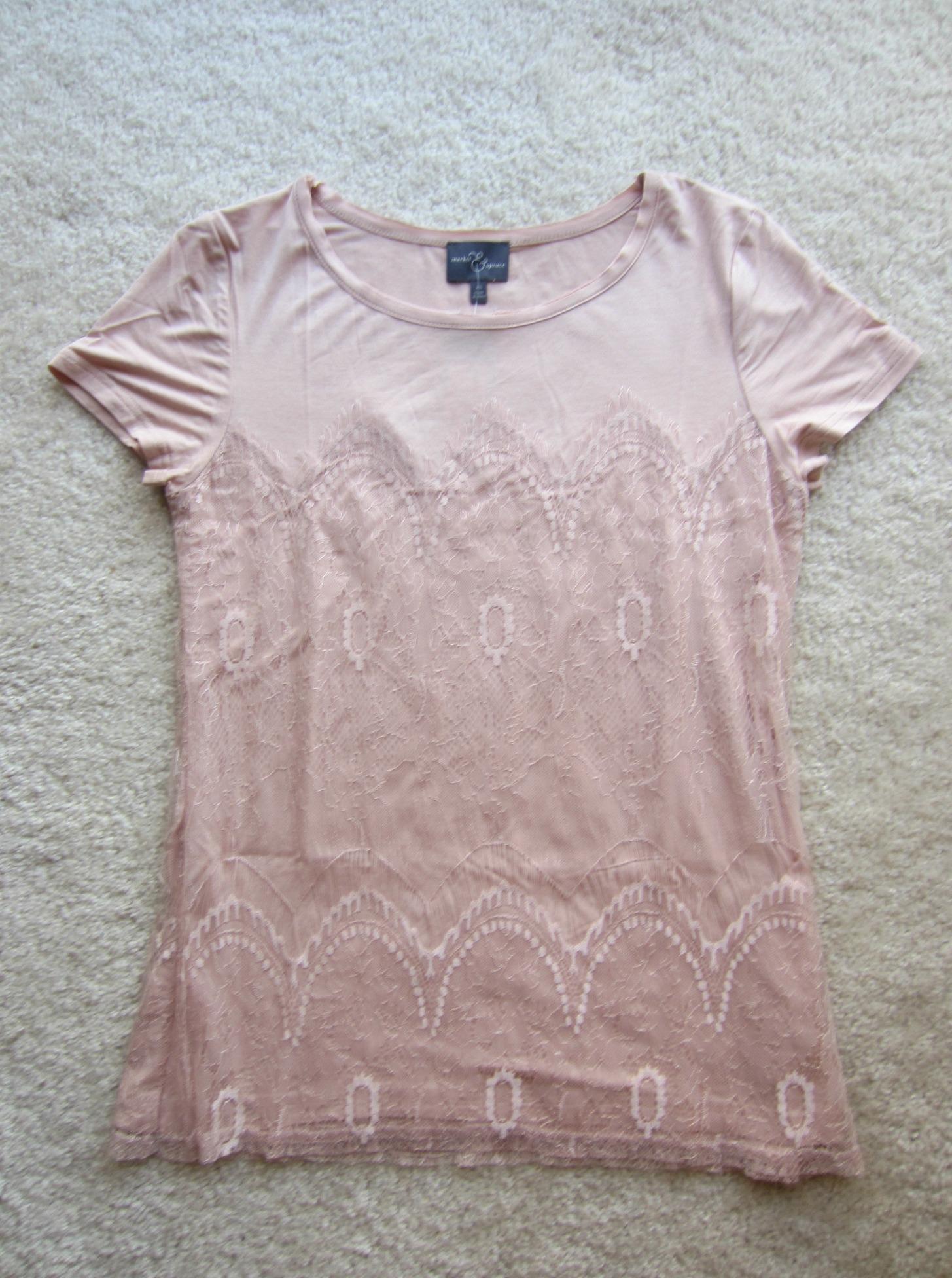 stitch fix market & spruce memphis lace overlay knit shirt light pink