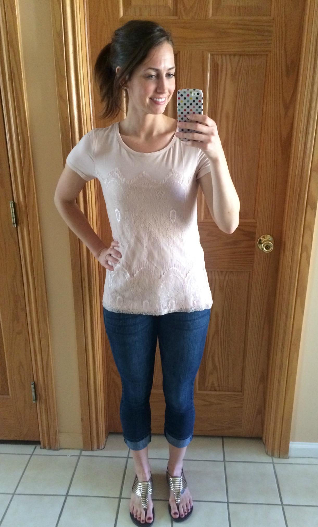 stitch fix market & spruce memphis lace overlay knit shirt