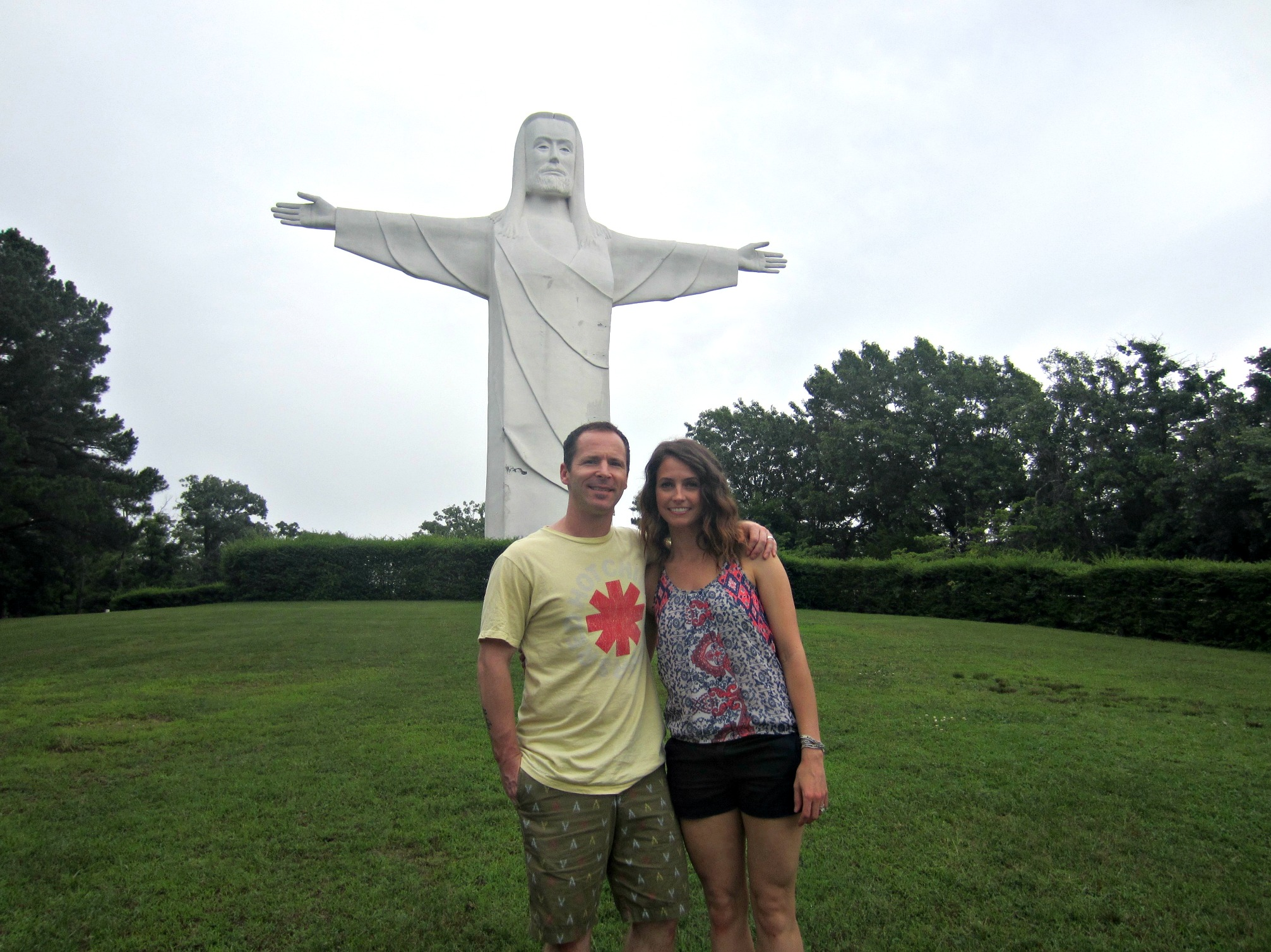 Christ of the Ozarks statue Scott and Heather