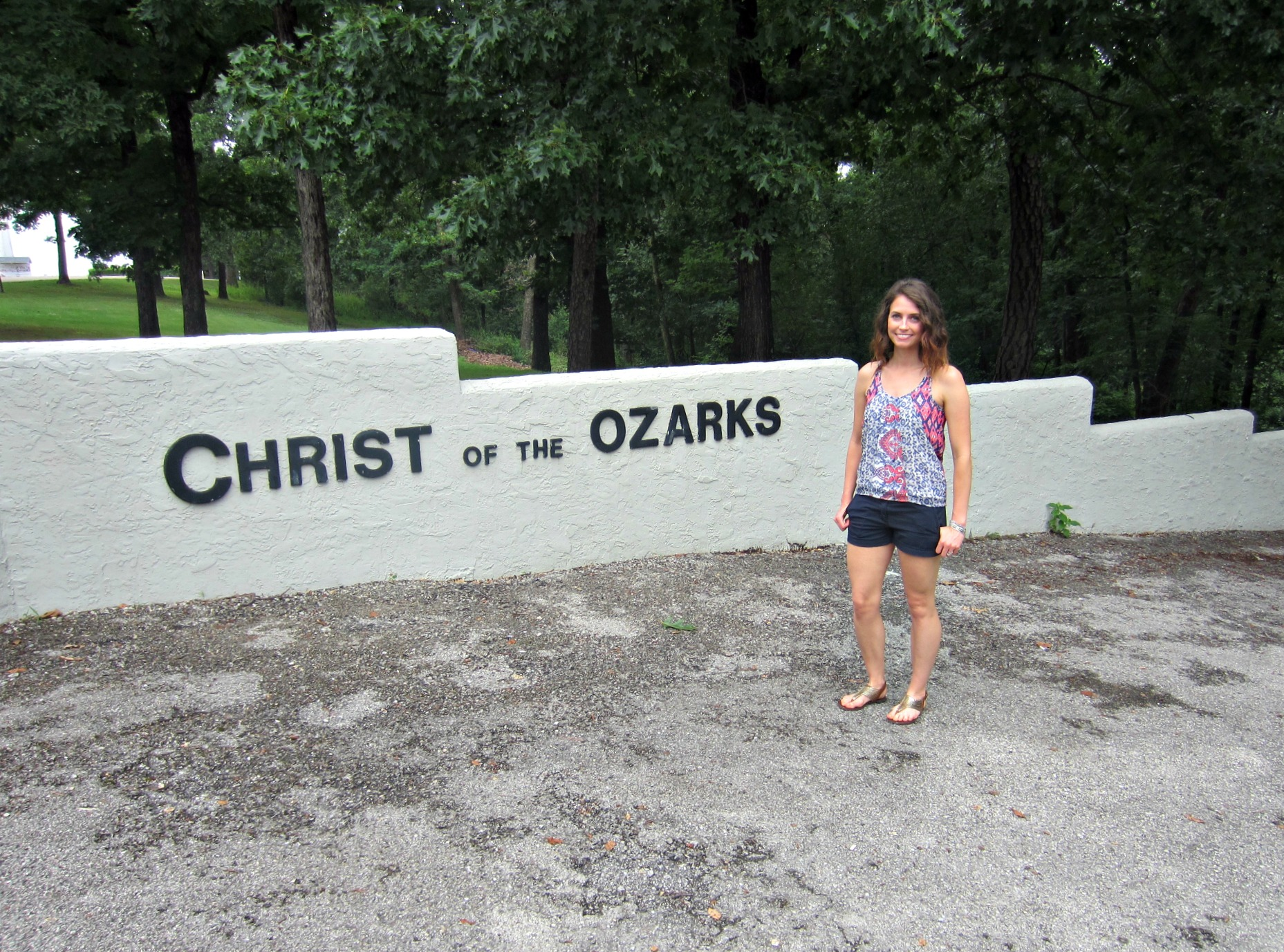 Heather at Christ of the Ozarks statue