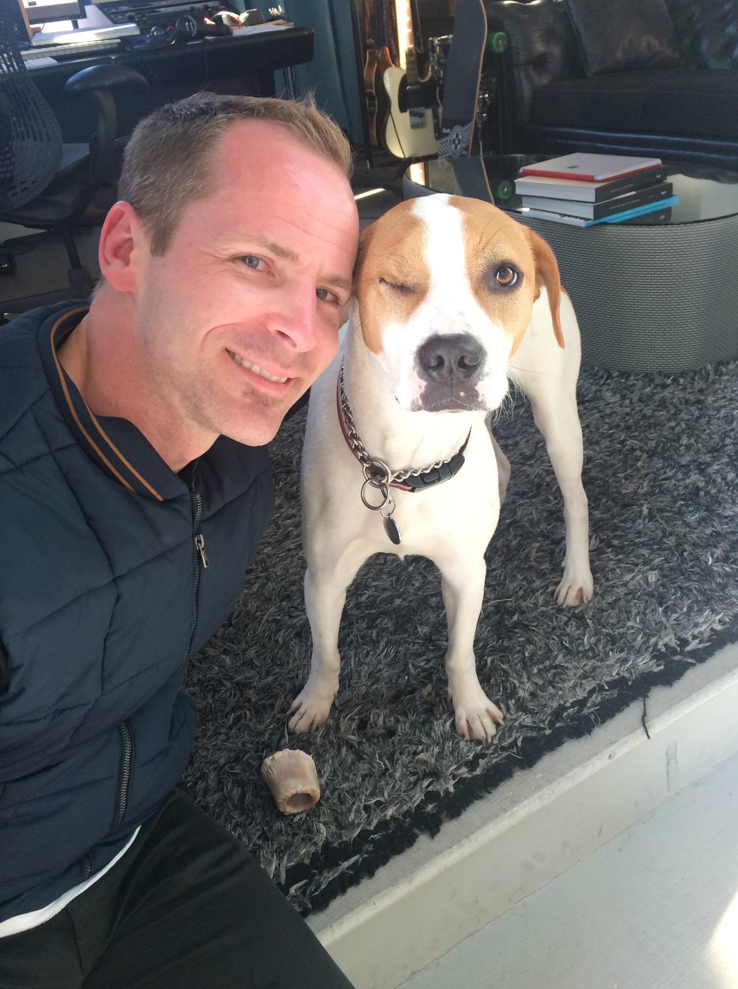 Scott with popeye the dog