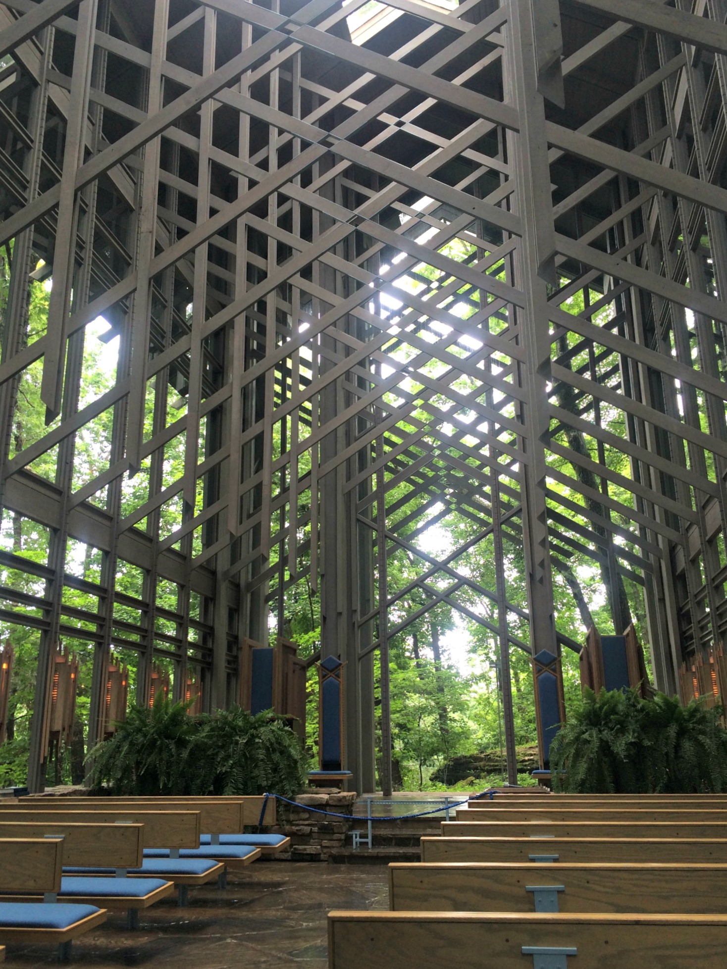 Thorncrown Chapel Eureka Springs inside chapel