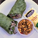 Yaya's chicken wrap and roasted corn