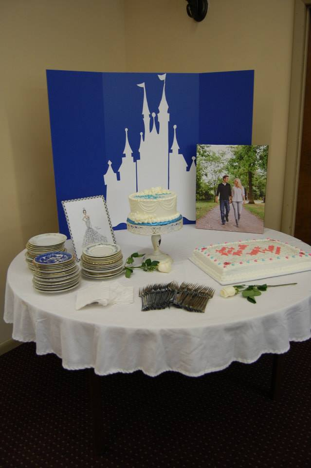 cinderella themed bridal shower cake table