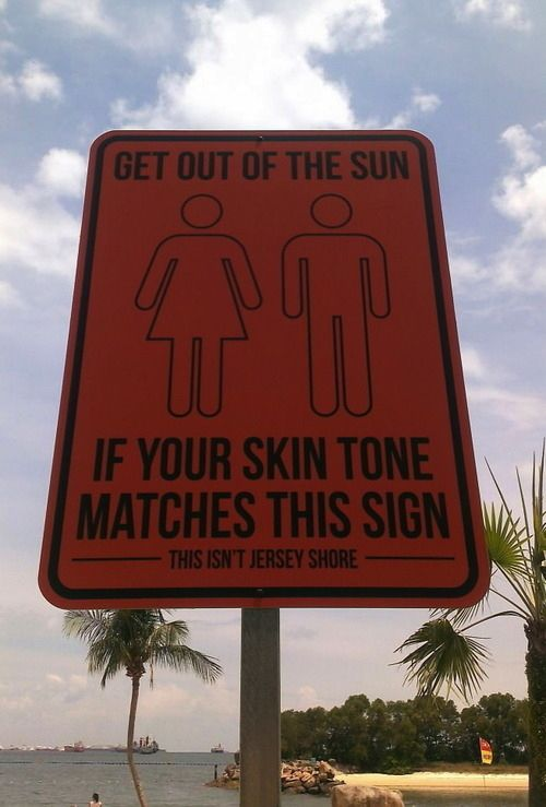 funny sunburn sign