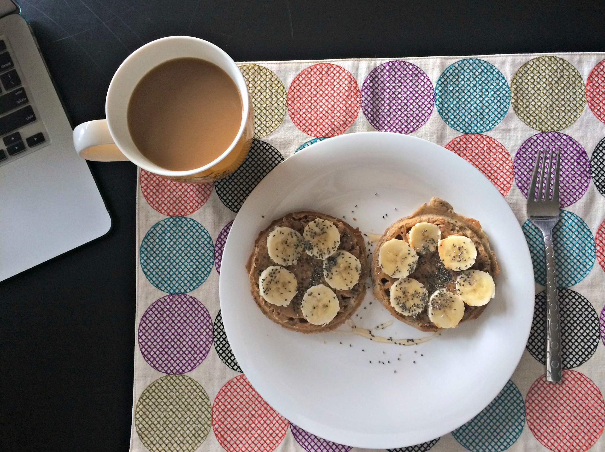 gluten free waffles with peanut butter bananas honey and chia seeds for breakfast
