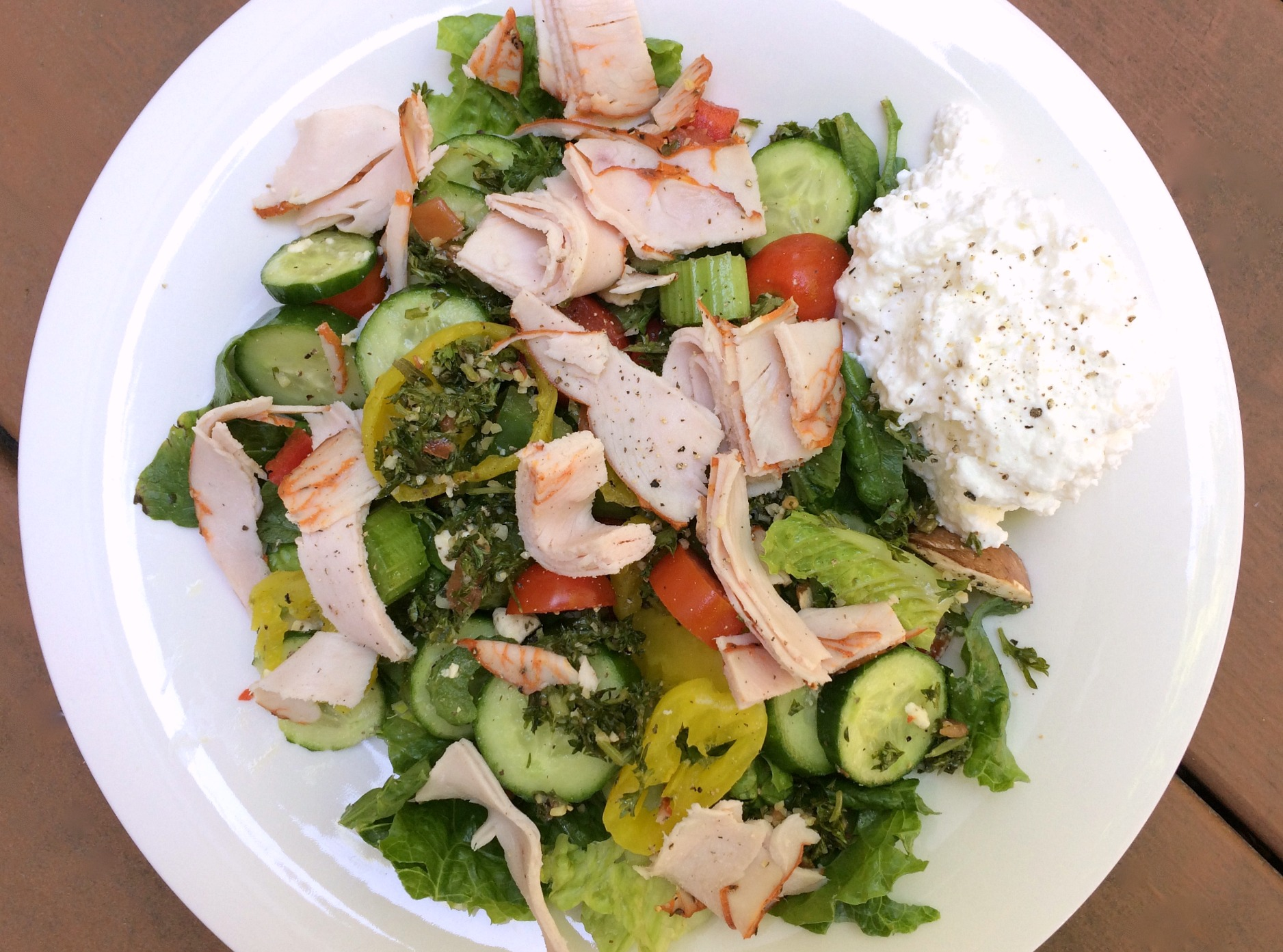 healthy turkey salad with tabbouleh and veggies