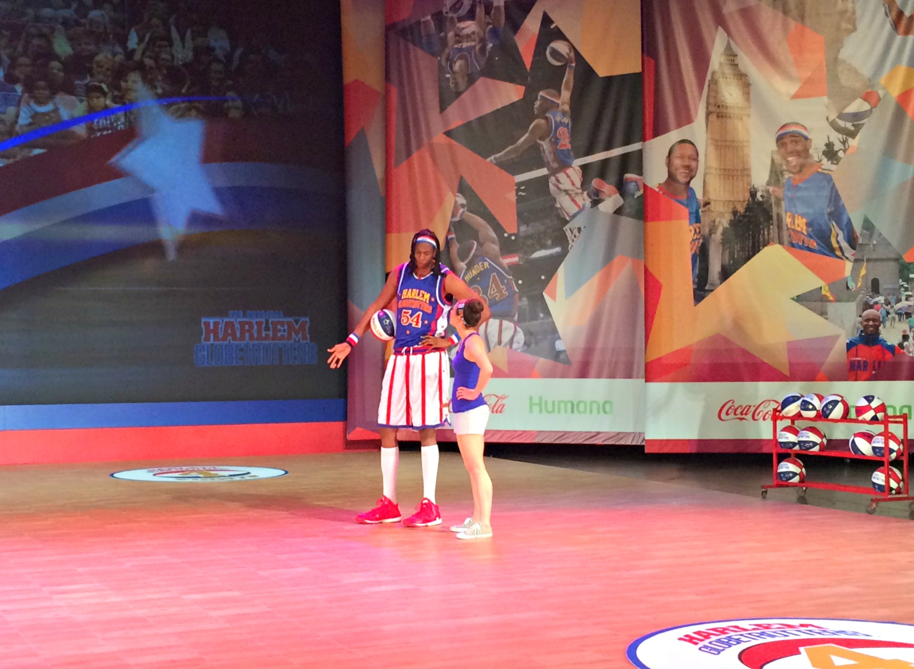 heather pulled on stage at harlem globetrotters