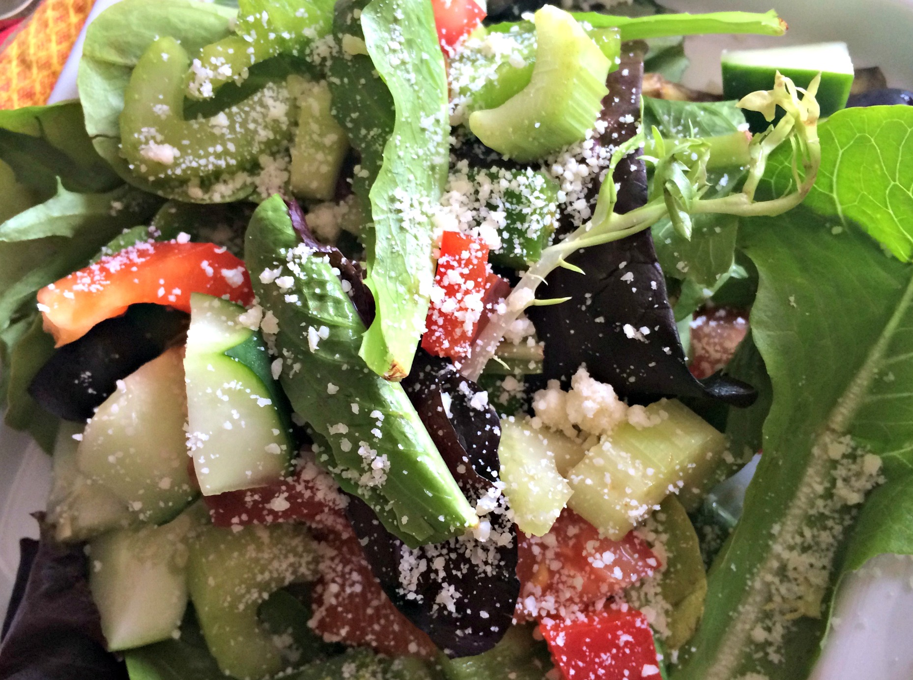 side salad with parmesan cheese and veggies