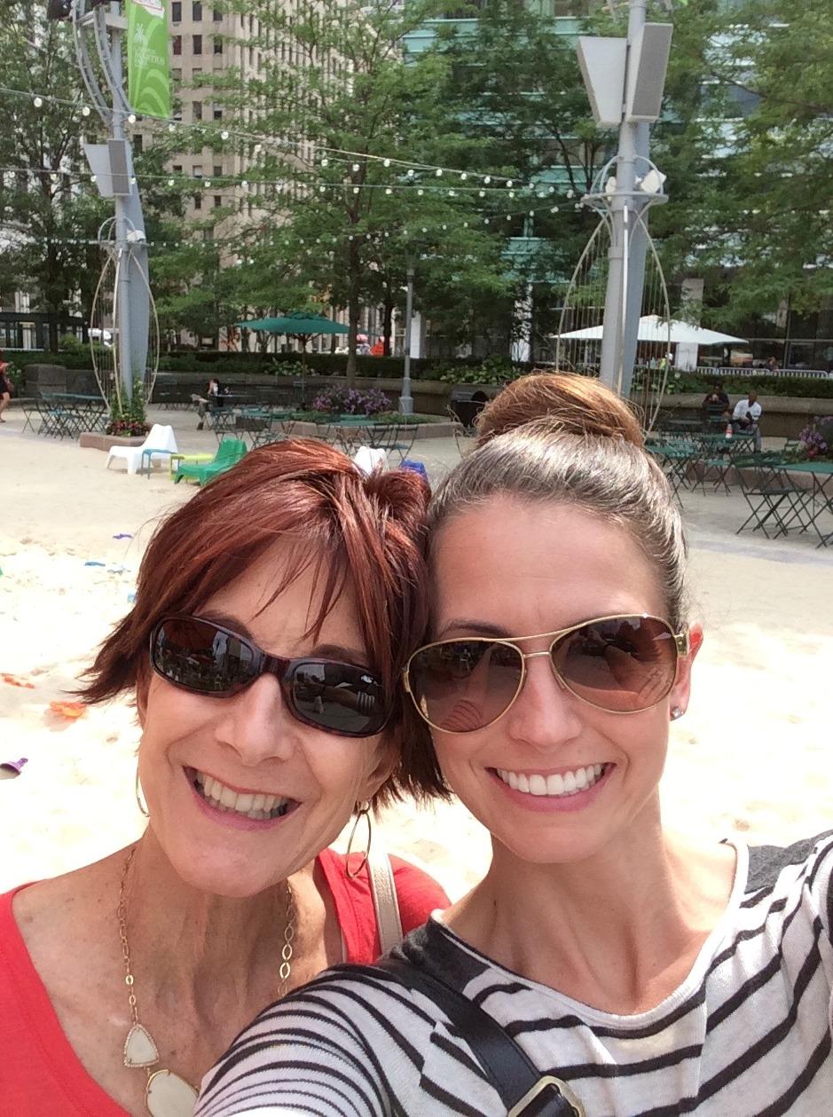 Campus Martius Beach with mom
