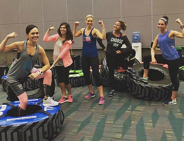 HIGH X workout with Gabby Reece group