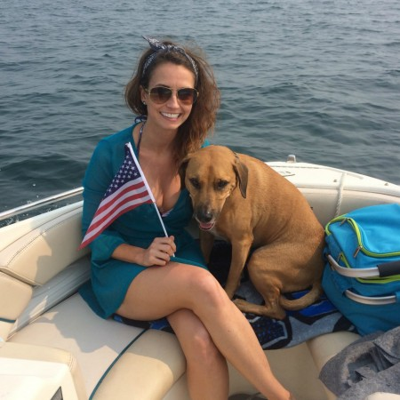 Heather and Roadie on the boat - Lake Michigan