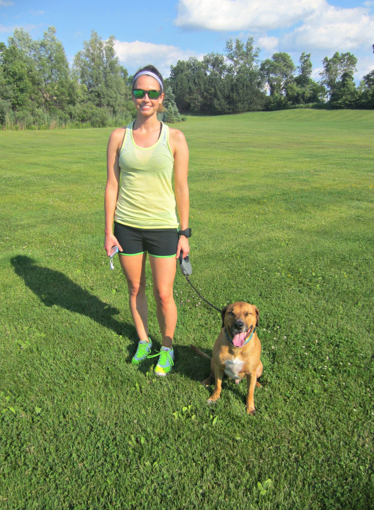 Heather and Roadie ready for a run in sunglasses