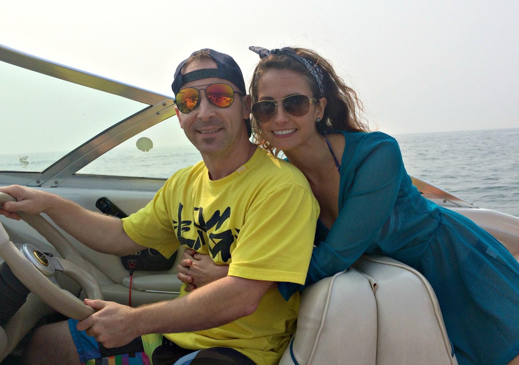 Scott and I on the boat, Lake Michigan
