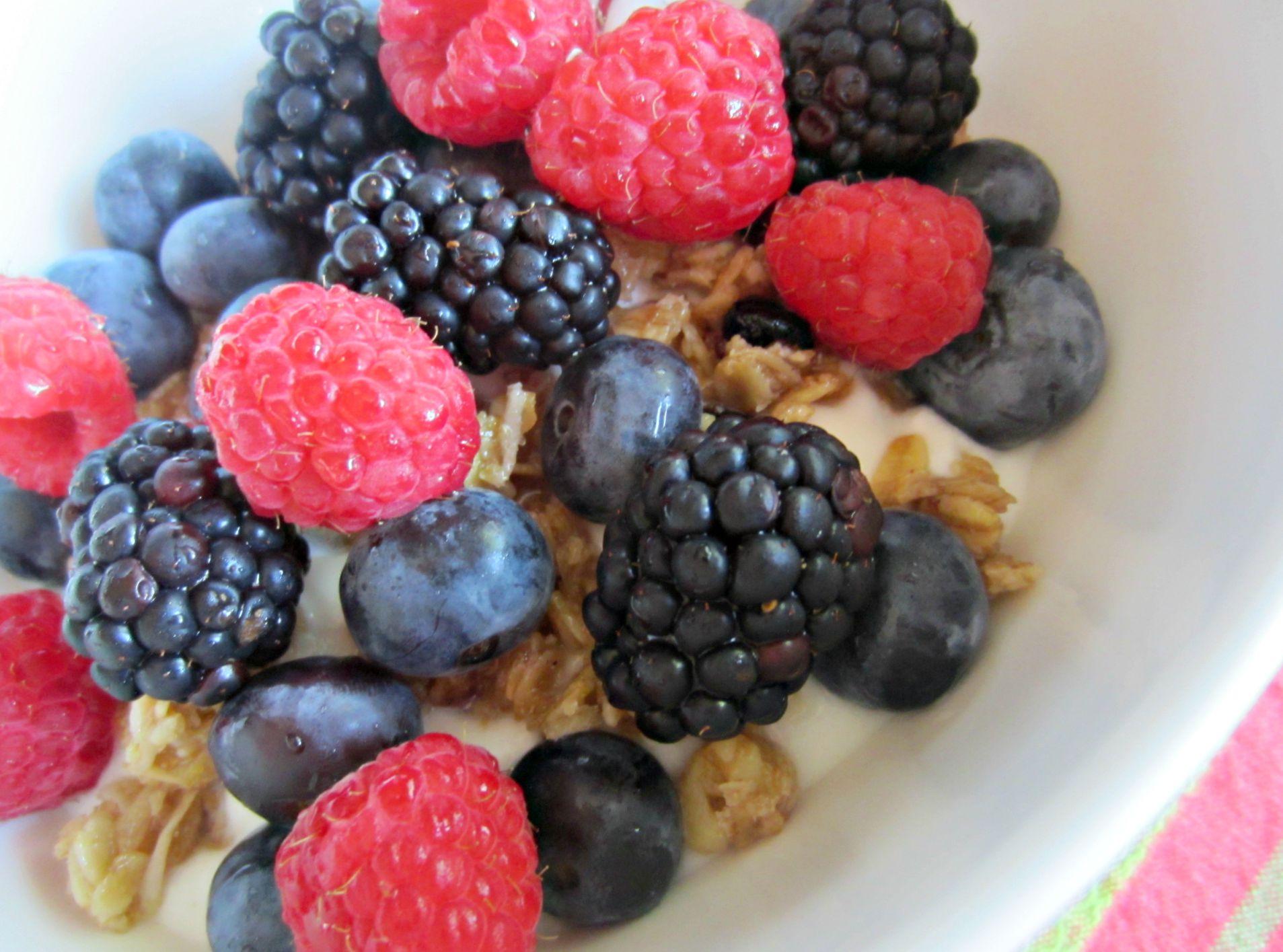 berries over yogurt and soft granola