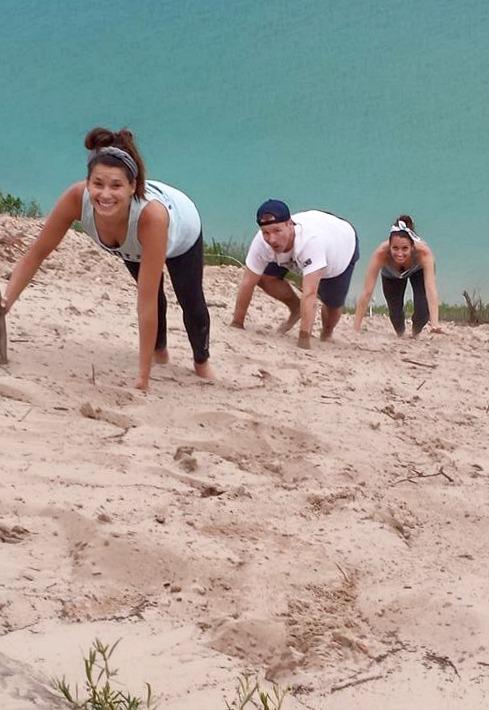 climbing up pyramid point, lake michigan