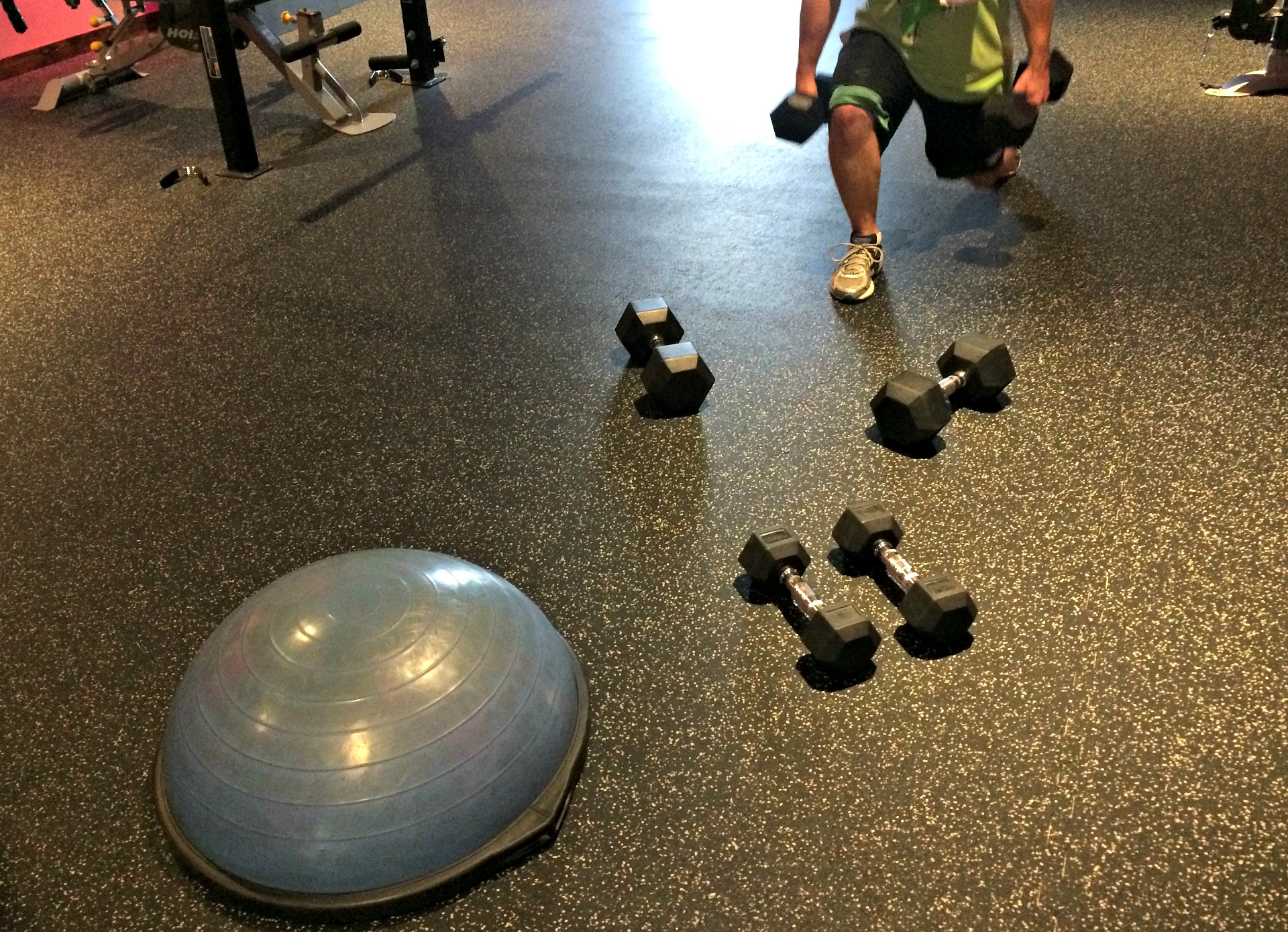 dumbbell strength workout at the gym