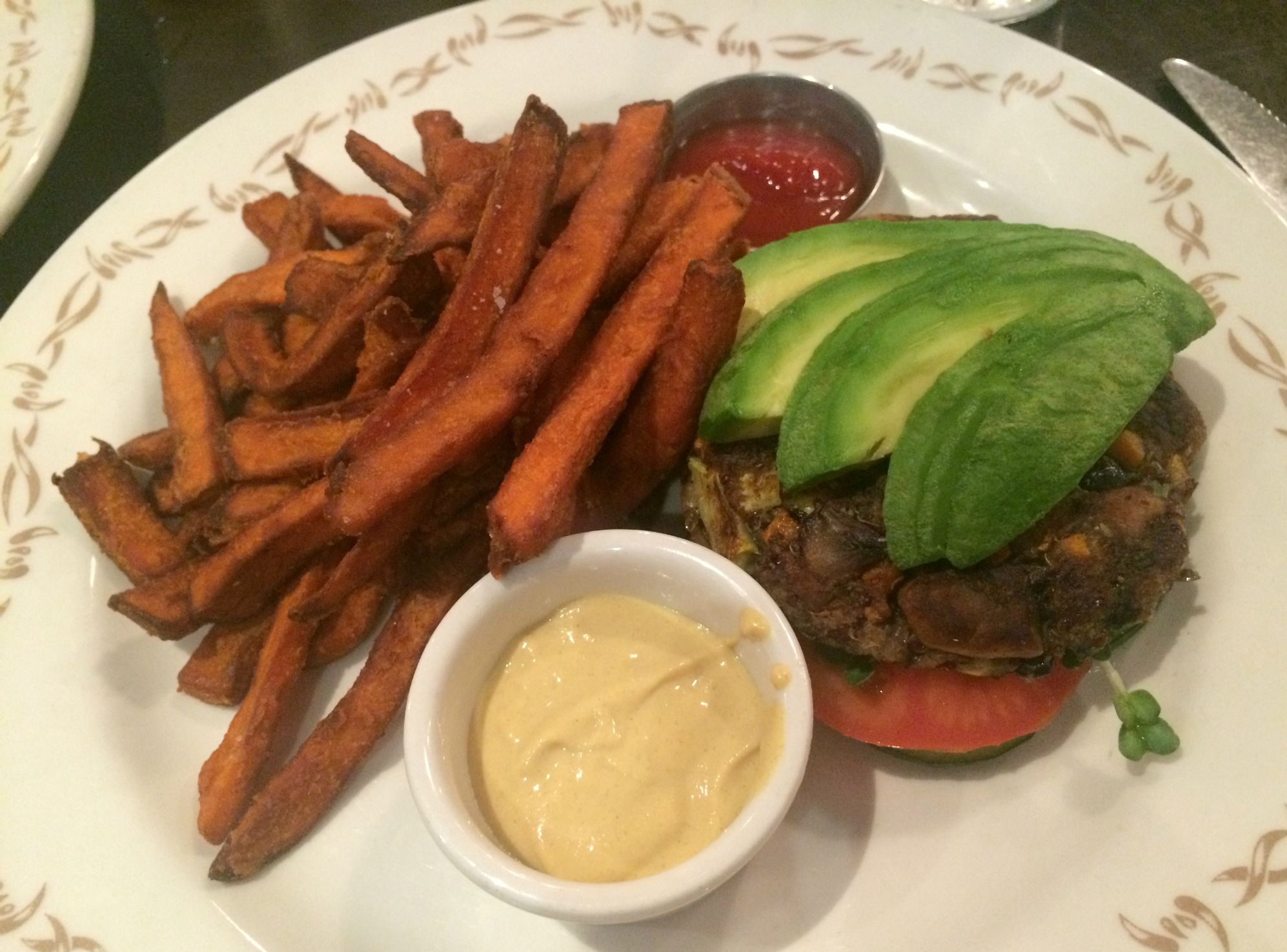 farm of beverly hills quinoa and veggie burger with sweet potato fries