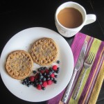 healthy breakfast gluten free waffles with peanut butter and fruit