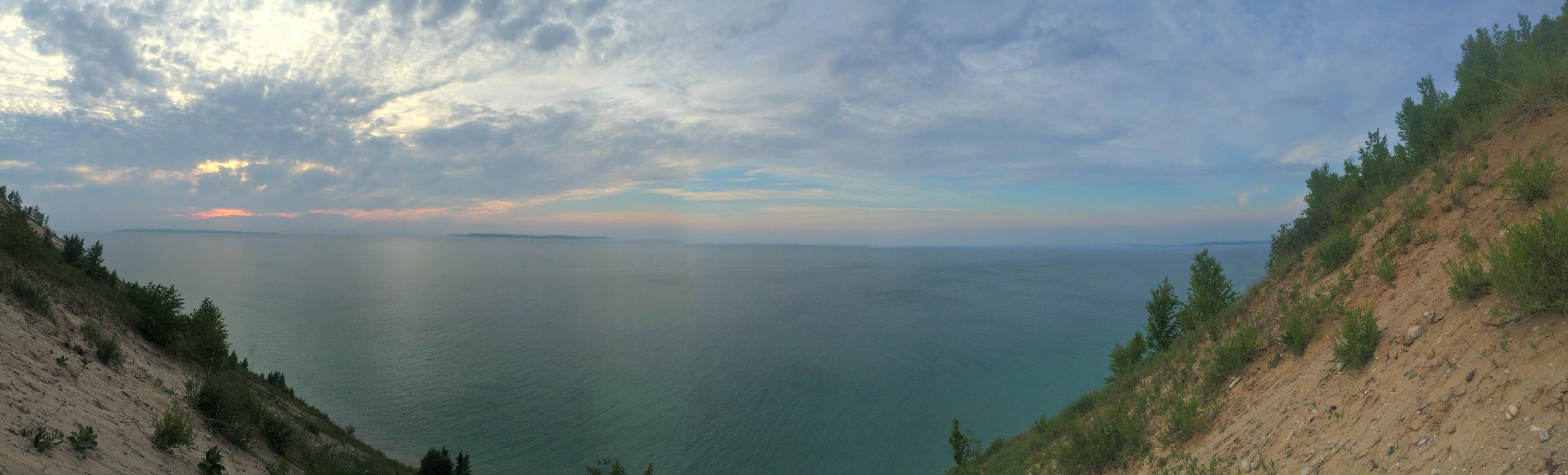 pyramid point, lake michigan view