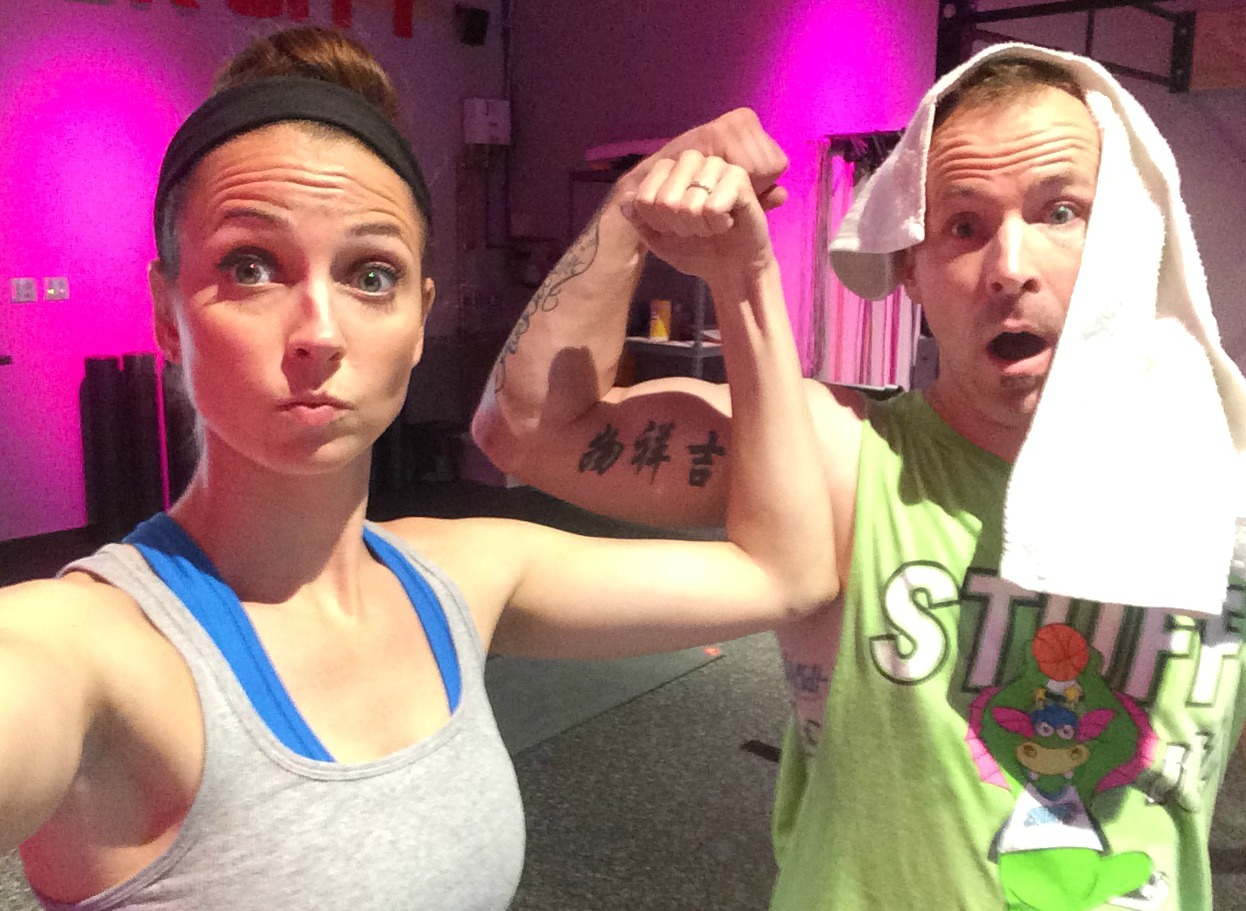 scott and heather at the gym