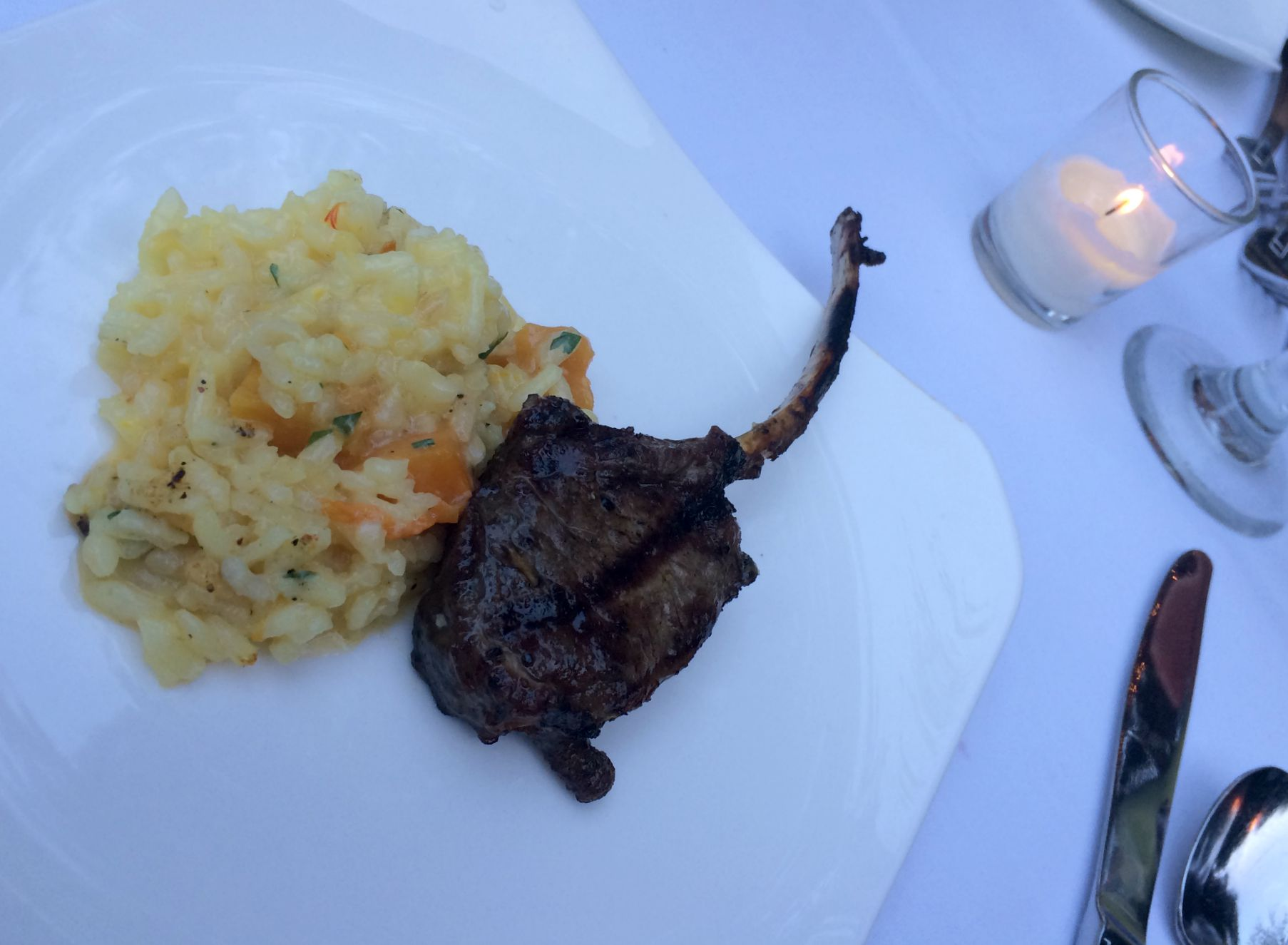 squash risotto with lamb lollipop