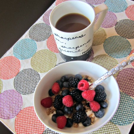 yogurt bowl with soft gluten free granola and fruit for breakfast