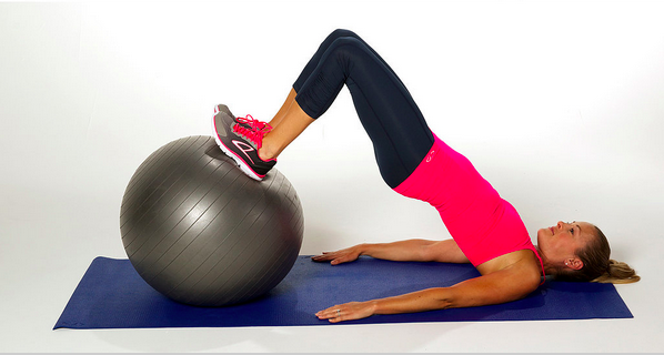 stability ball bent leg bridge